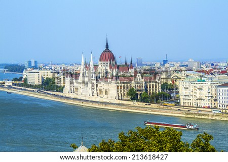 Famous building of Parliament at the bank of Danube River in Budapest. Hungary, Europe - stock photo