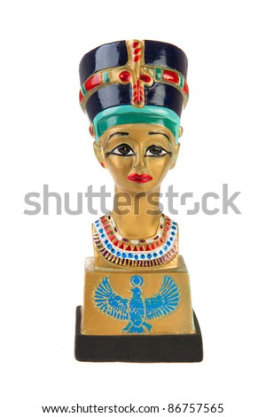 Famous buste from Nefertiti in Egypt on white background - stock photo