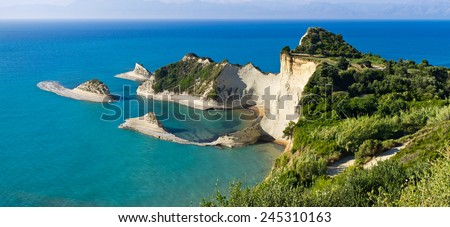 Famous Cape Drastis cliffs on Corfu island, Greece - stock photo