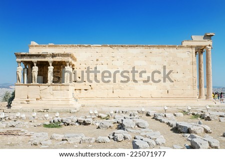 Famous cariathides temple in the Acropolis, Athens, Greece. - stock photo