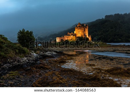 Famous Castle Eilean Donan at Loch Duich, Highlands, Scotland - stock photo