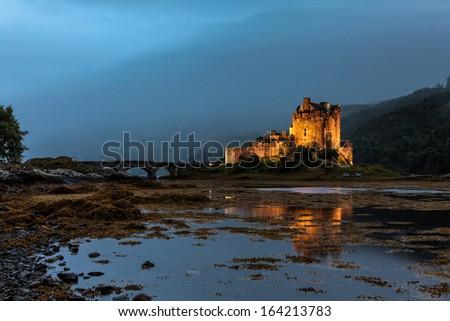Famous Castle Eilean Donan at Loch Duich, Highlands, Scotland - stock photo