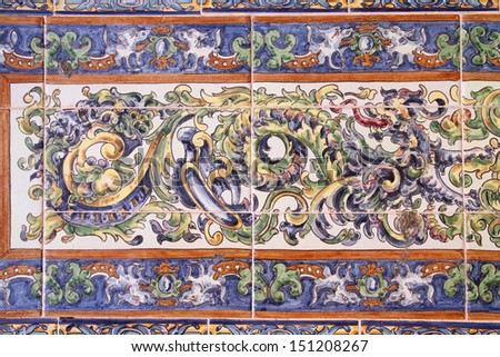 Famous ceramic decoration in Plaza de Espana, Sevilla, Spain - stock photo