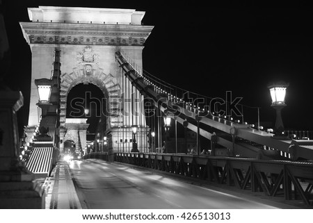 Famous Chain bridge in Budapest at night in black and white - stock photo