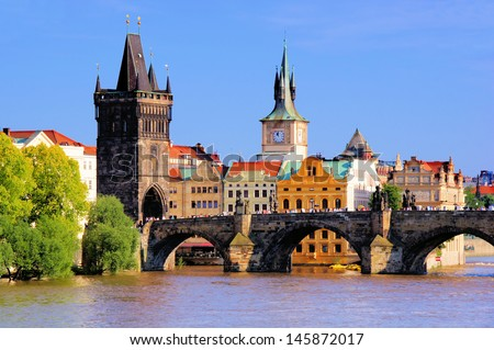 Famous Charles Bridge and tower, Prague, Czech Republic - stock photo