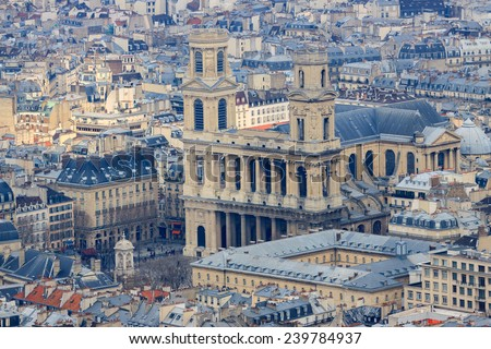 Famous church Saint-Sulpice in Paris, France, view from top - stock photo