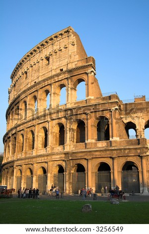Famous Colosseum or Coliseum in Rome (Flavian Amphitheatre), Italy - stock photo