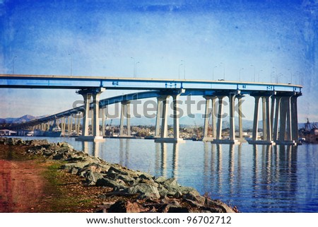 Famous Coronado Bridge in San Diego, California - stock photo