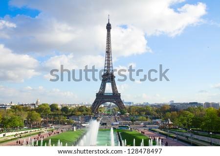famous eiffel tour and fountains of Trocadero, Paris,  France - stock photo