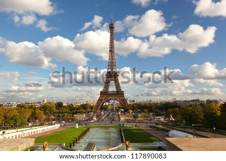 Famous Eiffel Tower in beautiful  day, Paris, France - stock photo