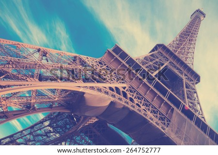 famous Eiffel Tower in Paris, France.  Instagram style filtred image - stock photo