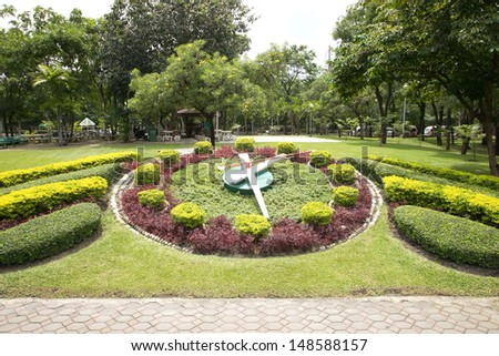 Famous flower clock in the public park. - stock photo