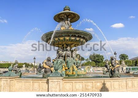 Famous Fountain of River Commerce and Navigation - one of the two Fountains de la Concorde (1840) on the Place de la Concorde. Paris, France. - stock photo