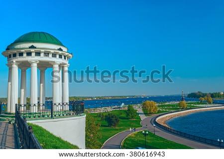 Famous gazebo on the embankment of the Volga river in Yaroslavl - stock photo