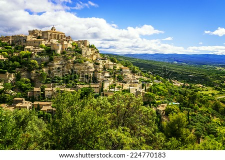 Famous Gordes medieval village in Southern France  - stock photo