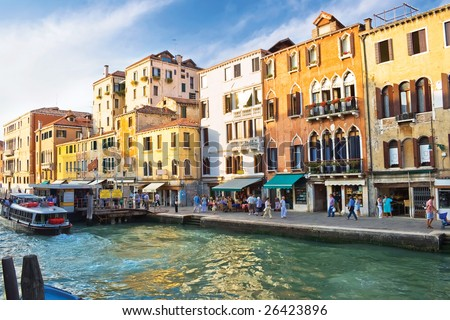 Famous Grand Canal in Venice and typical venetian architecture, Italy - stock photo