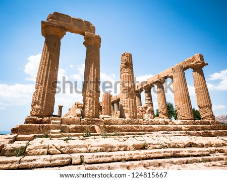 famous greek temple at agrigent - sicilia - italy - stock photo