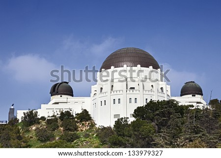 Famous Griffith Observatory in Los Angeles, USA - stock photo