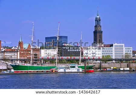 famous hamburg harbor with michle church an sailing ship rickmer rickmers - stock photo