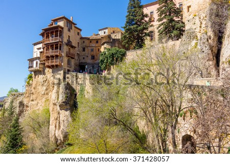 Famous hanging houses of Cuenca in Spain - stock photo