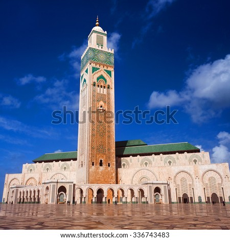 Famous Hassan II Mosque in Casablanca, Morocco. The Mosque is the largest in Morocco and the third largest mosque in the world after the Grand Mosque of Mecca and the Prophet's Mosque in Medina. - stock photo
