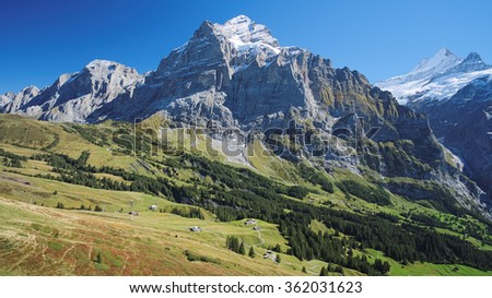 Famous hiking trail from First to Grindelwald (Bernese Alps, Switzerland). Great views are enjoyed towards mountains like the Eiger, Monch and Jungfrau. You will also encounter the Bachalpsee en route - stock photo
