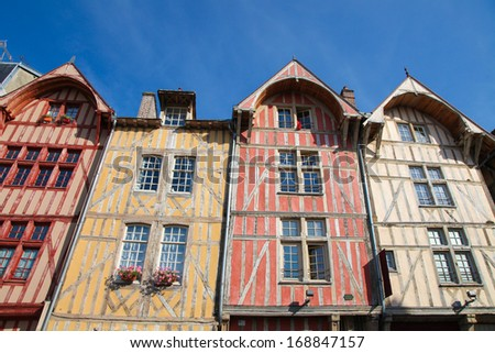 Famous historic half-timbered houses in the center of Troyes, capital of the Aube department in the Champagne region in north-central France. - stock photo