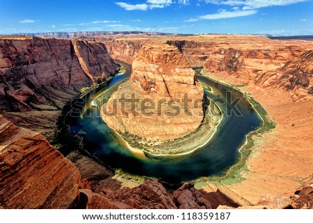 Famous Horse Shoe Bend at Utah, USA - stock photo