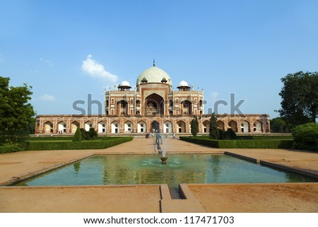 famous Humayun's Tomb in Delhi, India - stock photo