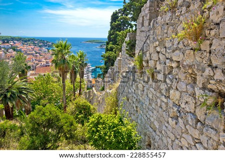 Famous Hvar island wall and harbor view, Dalmatia, Croatia - stock photo