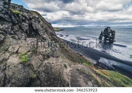famous Hvitserkur rock formation, Iceland - stock photo