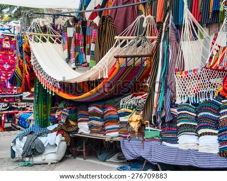 Famous Indian market in Otavalo, Imbabura, Ecuador, South America - stock photo
