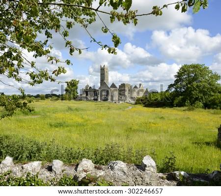 famous irish landmark, quin abbey, county clare, ireland - stock photo
