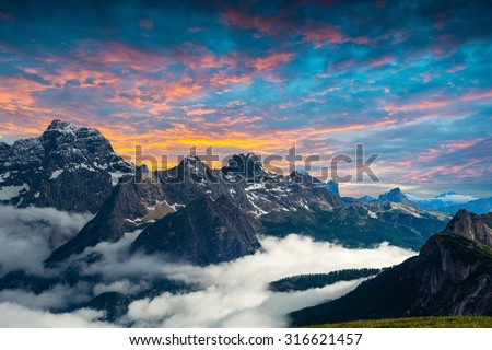 famous Italian National Park Tre Cime di Lavaredo. Dolomites, South Tyrol.  Auronzo - stock photo