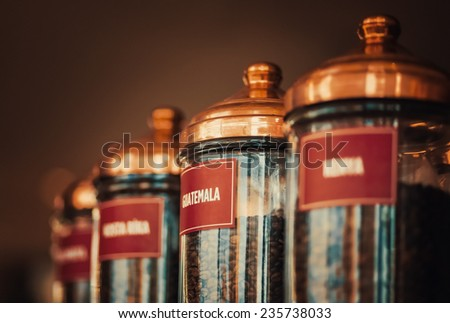 Famous jars of coffee beans of the world. - stock photo