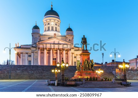 Famous landmark in Finnish capital: scenic evening summer view of Senate Square with Lutheran cathedral and monument to Russian Emperor Alexander II in the Old Town of Helsinki, Finland - stock photo