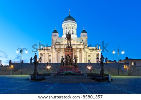 Famous landmark in Finnish capital: Senate Square with Lutheran cathedral and monument to Russian emperor Alexander II - stock photo