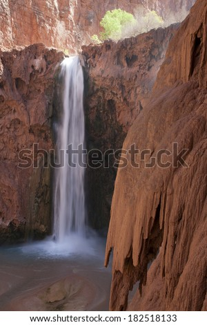 famous landmark Mooney Falls located on the Havasupai Indian Reservation. Arizona. America - stock photo
