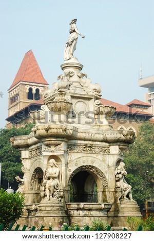 Famous landmark of Mumbai (Bombay) - Flora fountain on famous square, Maharashtra, India, Asia - stock photo