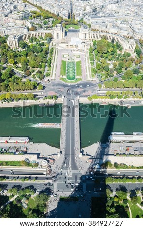 Famous landmark Trocadero and the Palais de Chaillot shot from above at the Eiffel Tower with shadow over river Seine, Paris, France. Horizontal with city skyline - stock photo