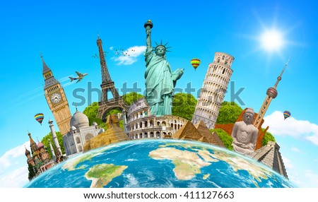Famous landmarks of the world grouped together on planet Earth - stock photo