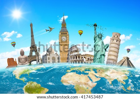 Famous landmarks of the world grouped together on planet Earth 'elements of this image furnished by NASA' - stock photo