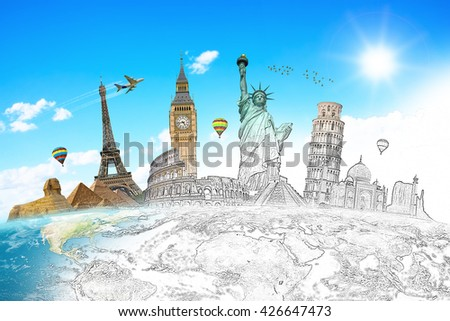Famous landmarks of the world with hand-drawn effect 'elements of this image furnished by NASA' - stock photo