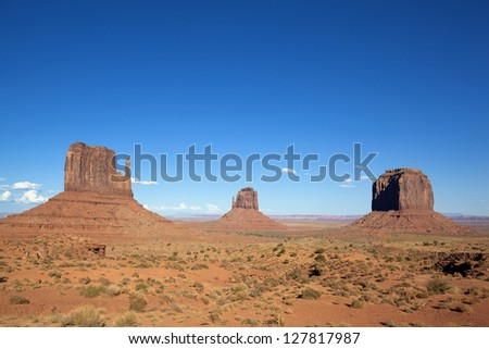 famous landscape of Monument Valley, USA - stock photo