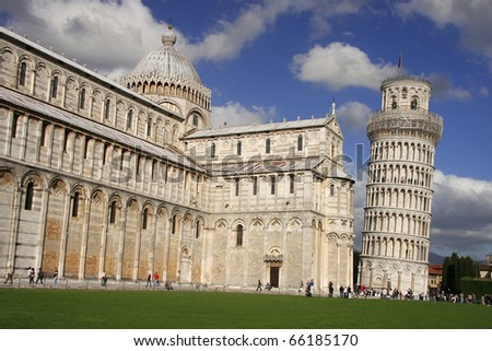 famous Leaning Tower of PISA in Italy - stock photo