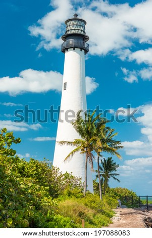 Famous lighthouse at Cape Florida in the south end of Key Biscayne , Miami - stock photo