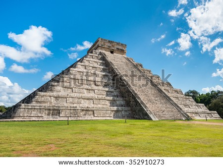 Famous mayan pyramid Chichen Itza in sunlight with nobody around in Mexico - stock photo