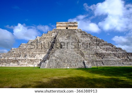 Famous Mayan pyramid in Chichen Itza archeological site, one of new Seven wonders of the World, Mexico - stock photo