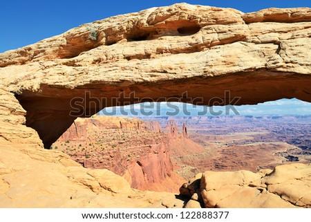 famous Mesa Arch near Moab city, Utah, USA - stock photo