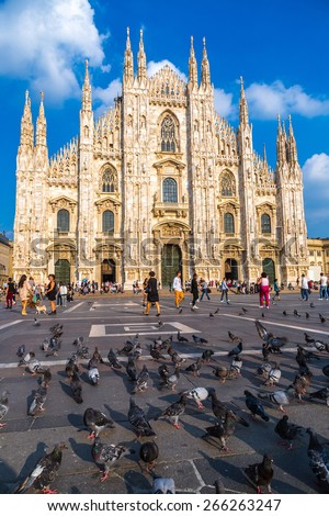 Famous Milan Cathedral, Duomo in a beautiful summer day - stock photo
